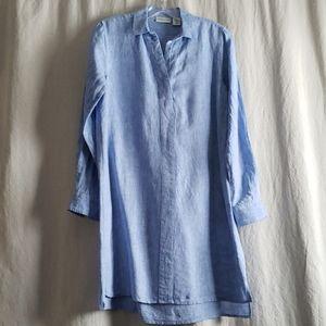 Split collar linen dress